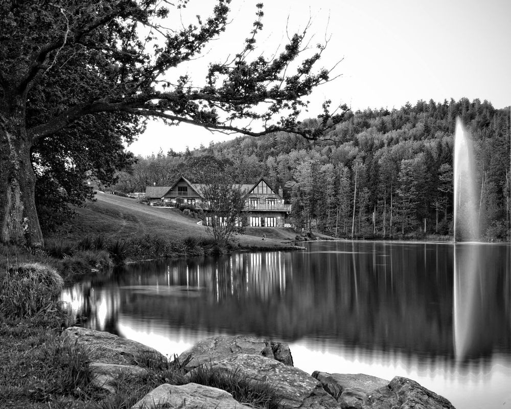 Photo in Black and White #canada #lodge #lake #black #& #white #water