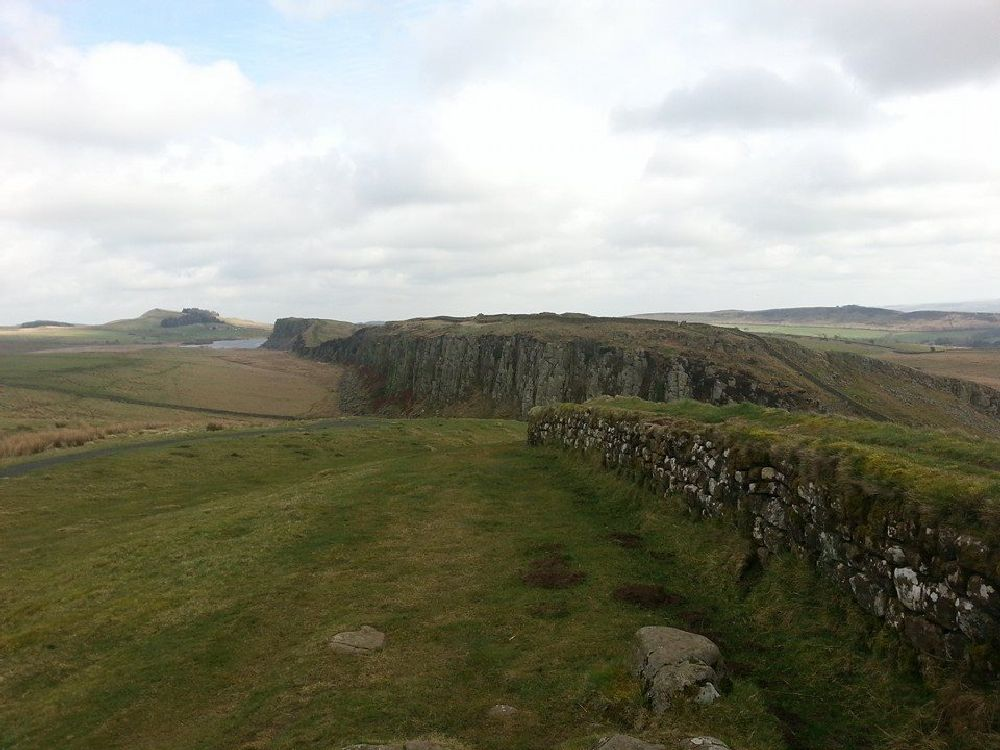 Photo in Landscape #hadrians wall #wall #geology #england #north east #northumberland #historic #landscape #north england #hills #cliffs