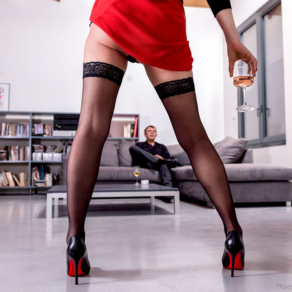 Photo in Fashion #louboutin #girl #hose #invitation #glass #wine #red #shoes #sexy