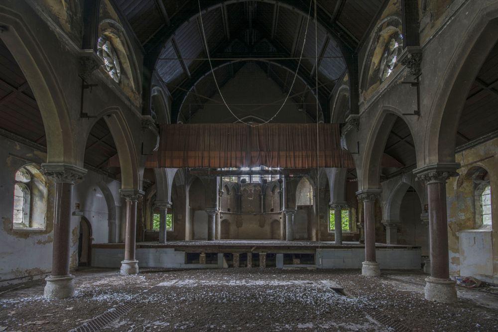 Photo in Urban #chapel #theatre #school #church #pigeon #pillars #abandoned #derelict #forgotten #worship #stage #curtain #lights #urbex #urban #explore #exploration #nikon