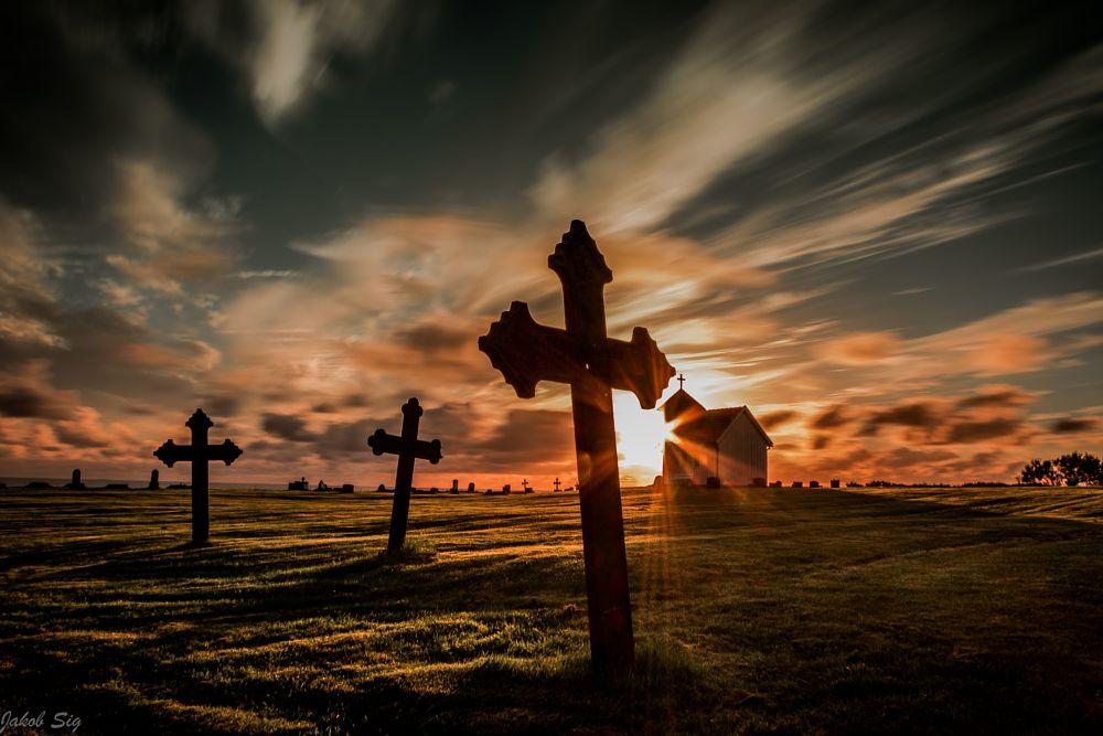 Photo in Landscape #landscape #nature #horizon #colours #sundown #sunset #church #cemetery #beach #peace #travel