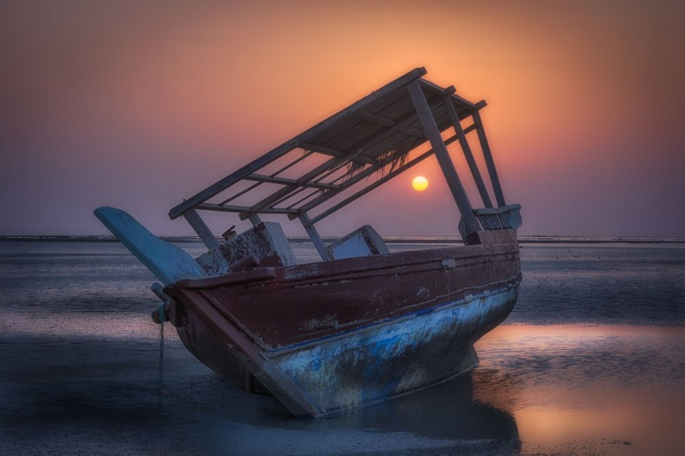 Photo in Landscape #doha #qatar #landscape #seascape #boat #boats #dhow #water #sunset