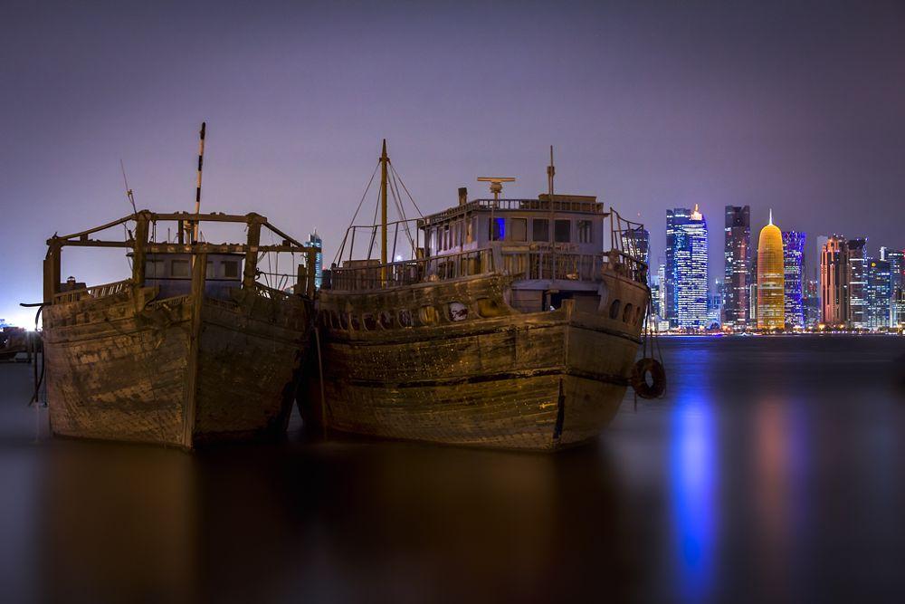 Photo in Landscape #doha #qatar #water #corniche #dhow #boat #landscape #seascape
