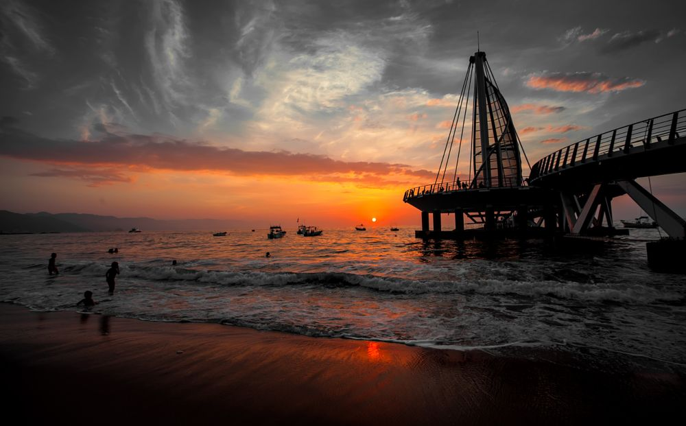 Photo in Landscape #ocean #pier #sunset #sun. landscape #vacation #island #yellow #sky #wallpaper