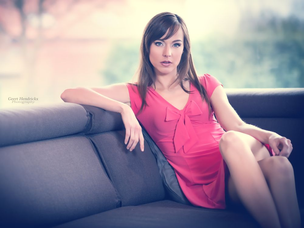 Photo in Fashion #pink #dress #fashion #beauty #sofa #sitting #elegance #window #model #blue eyes