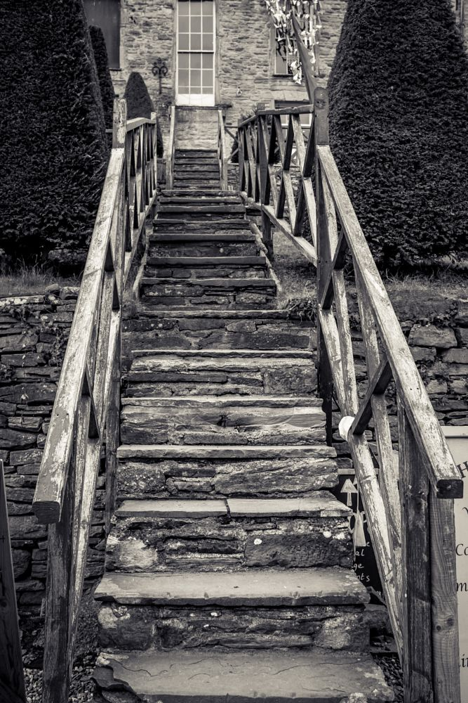 Photo in Landscape #steps #castle #black and white #landscape