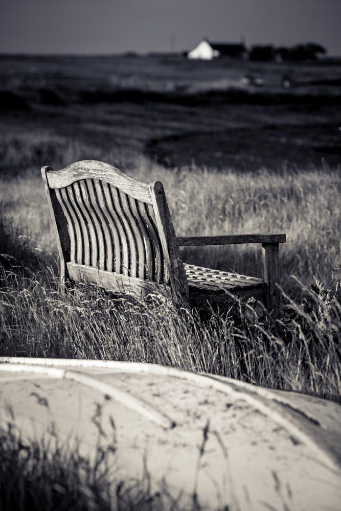 Photo in Random #lindisfarne #harbour #landscape #black and white #boat #bench