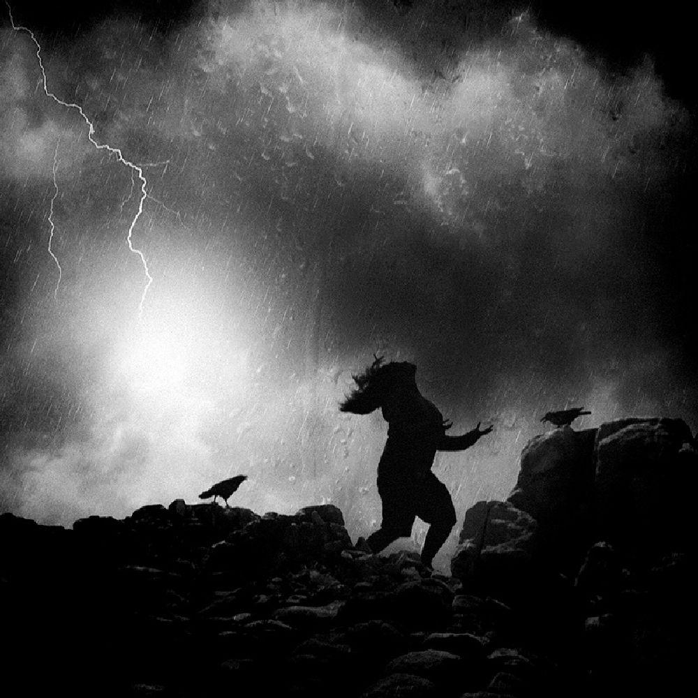 Photo in Black and White #black and white #bw #monochrome #square #creative edit #silhouette #emotion #mood #people #sorrow #sad #unusual #abnormal #dark #rain #asian #indonesia #canon