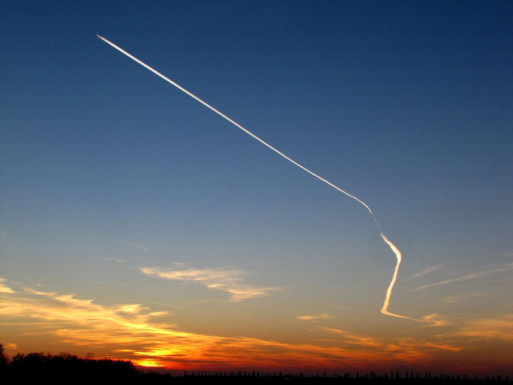 Photo in Random #aircraft #wake #sky #sunset #airplane