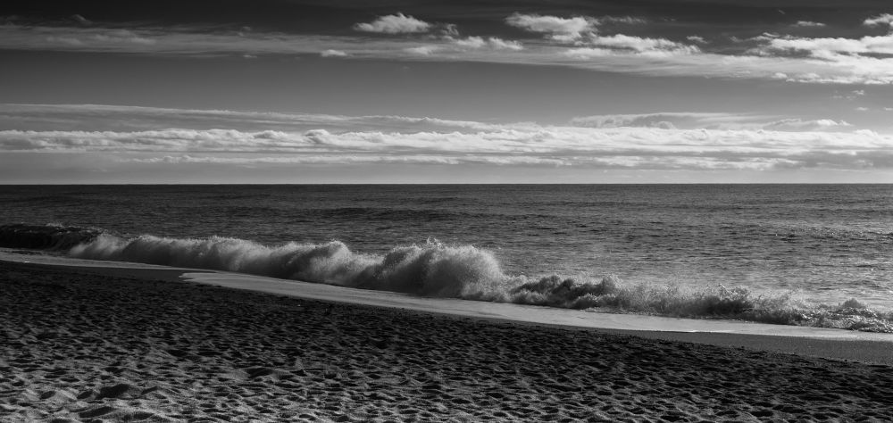 Photo in Black and White #beach #water #clouds #light #sky #nature #sun #spain #waves #sand #black and white