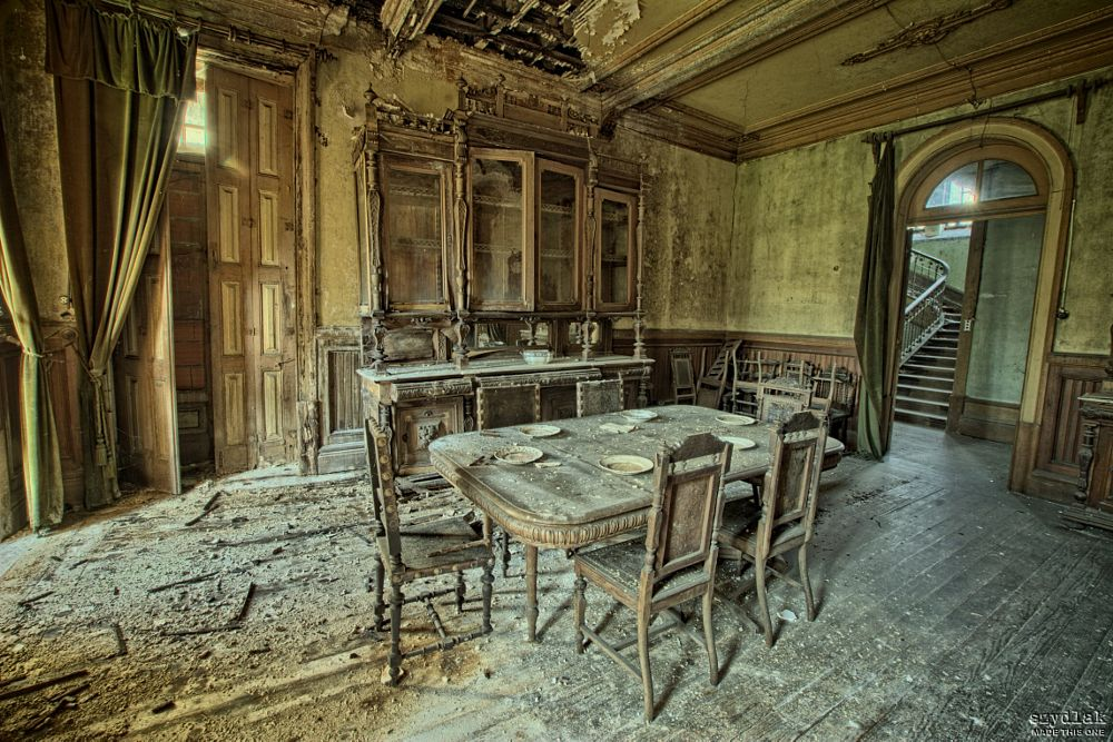 Photo in Interior #derelict #abandoned #forgotten #decay #decayed #szydlak #hdri #hdr #dining room #chair #table #stairs #urbex #urban exploration #dark #sadness #sad