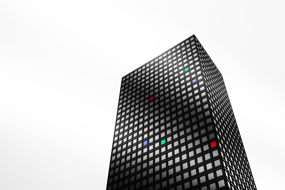 Photo in Black and White #blackandwhite #red #blue #green #building #seoul