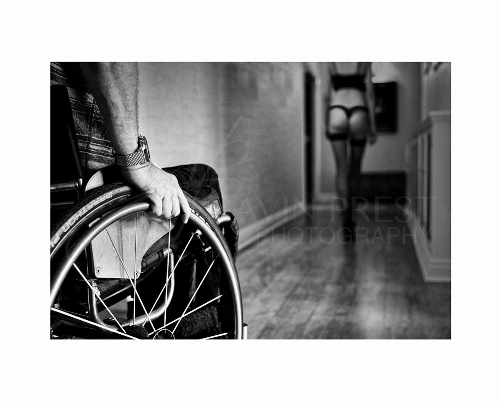Photo in People #home #wheelchair #woman #black and white #hand #underwear #walking away