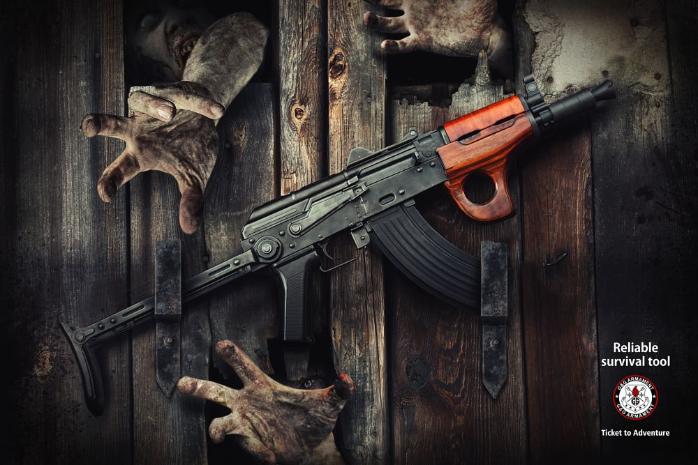 Photo in Still Life #airsoft #replica #zombies #barn door #aks74u #photomanipulation