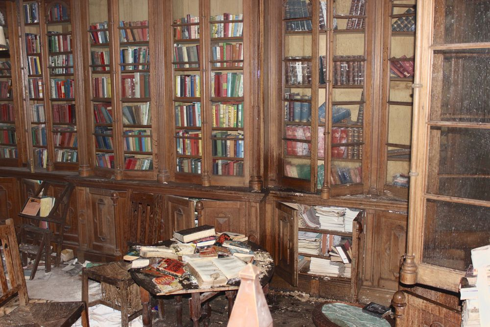 Photo in Fine Art #art #fine #canon #library #books #shelves #decay #rot #abandoned #manor #house #let to rot #carving #stunning #sad #left #reading