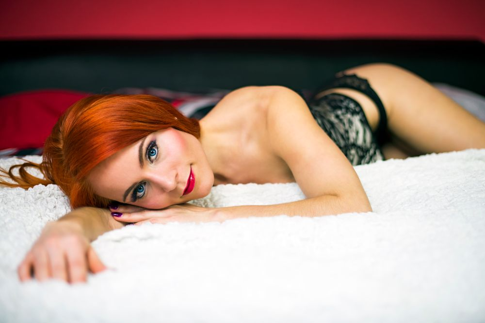 Photo in People #women #bed #glamour #interier #portrait #body #hands #face #view #ginger #hair #blue #eyes #red #lips #day light #nikon #d810 #color #czech #czechgirl #female #model #nice #sexi