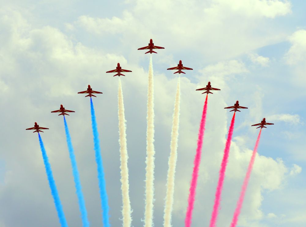 Photo in Travel #red arrows #planes #cloudes #airshow