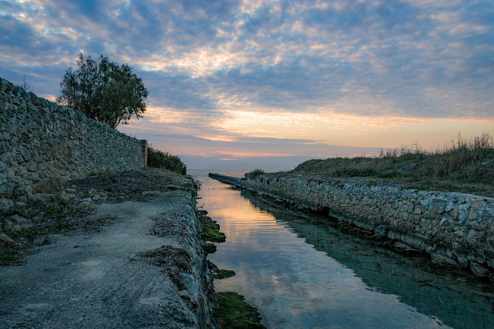 Photo in Nature #canal #sunset #sun #sky #color #water #sea #coast #landscape #nature