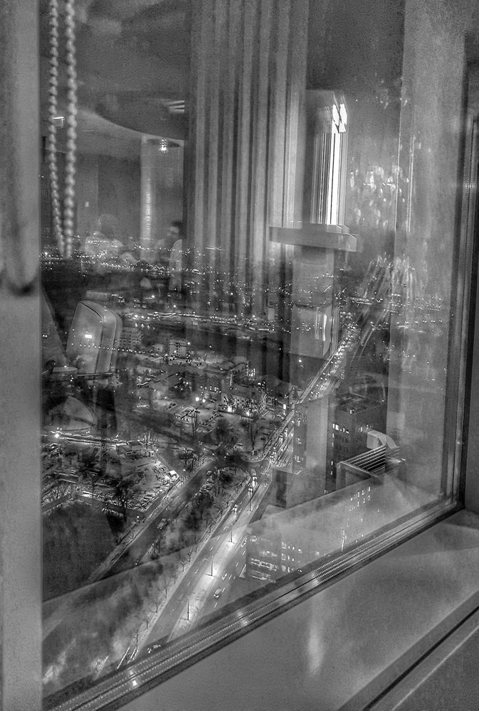 Photo in Black and White #reflections #window #city #cityscape #bw #monochrome #glass
