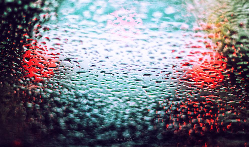 Photo in Abstract #rain #glass #colorfull #red #macro #car #arash afzal