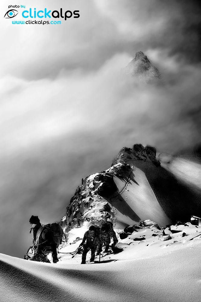 Photo in Black and White #climbing #mont blanc #monte bianco #chamonix #courmayeur #alpinismo #mountains #alps #cordata #clickalps