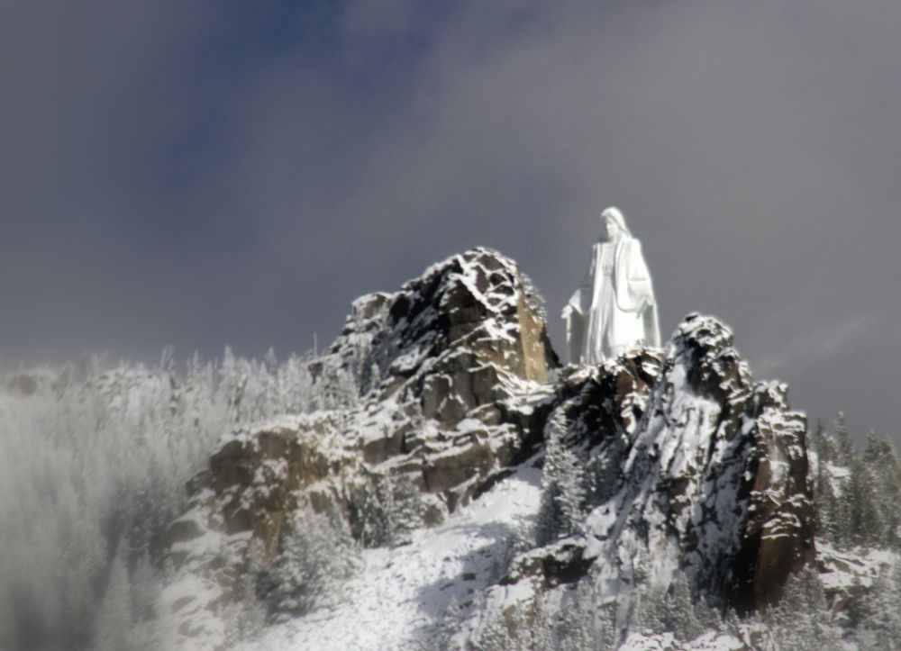 Photo in Landscape #statue on the mountain #roadside view #montana