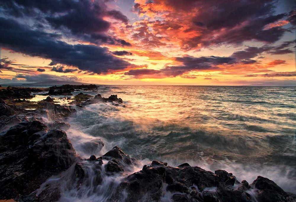 Photo in Sea and Sand #sunset #sun #sea #ocean