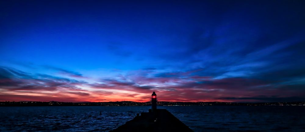 Photo in Landscape #brixham #breakwater #sunset #red sky #lighthouse #torbay