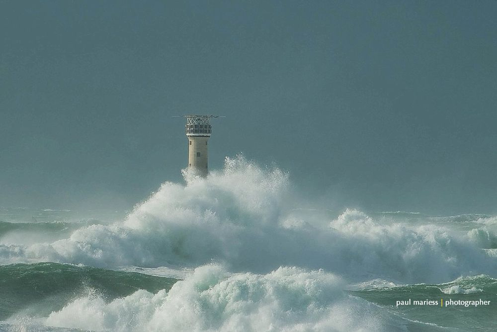 Photo in Landscape #storm #weather #sea #sky #seascape #lighthouse #phare #waves #guernsey #coast