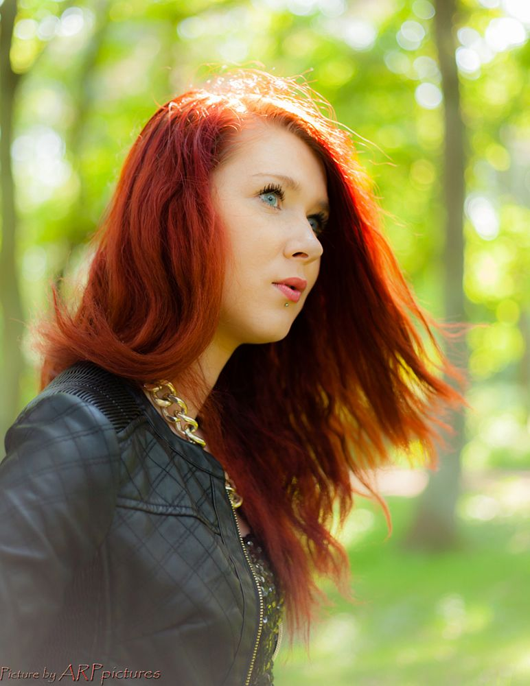Photo in Portrait #red-hair #girl #nature #jacket #necklace