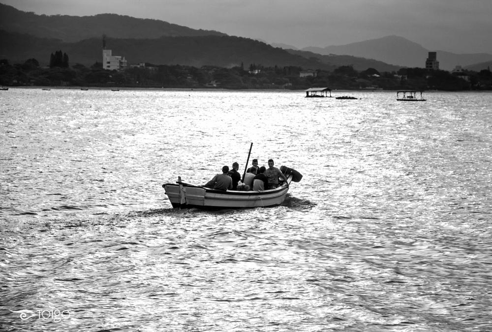 Photo in Black and White #boat #sea #friends #sunset