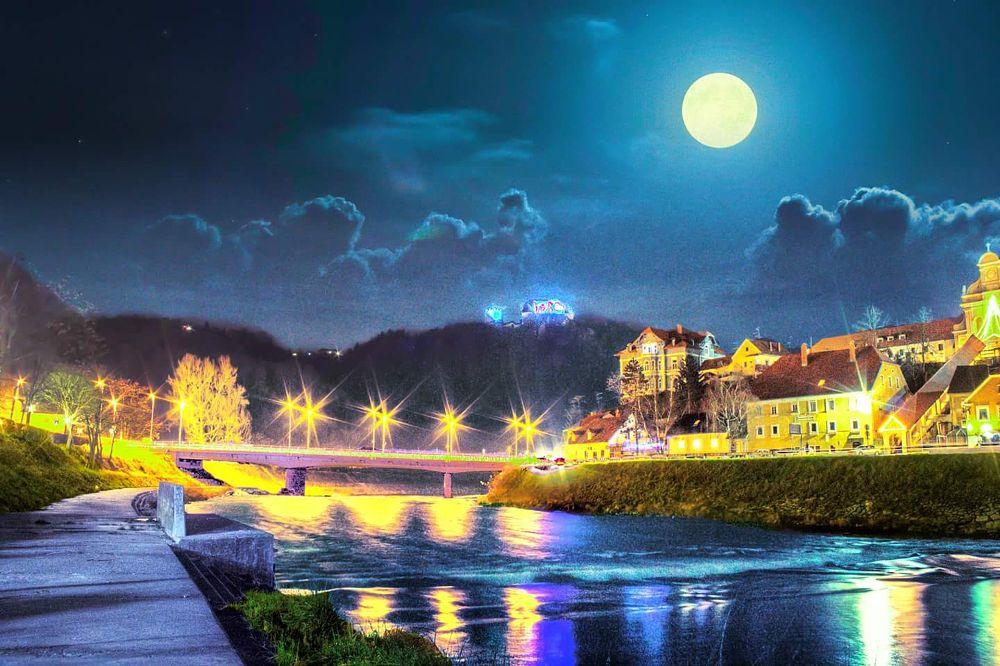 Photo in Cityscape #night #river #bridge