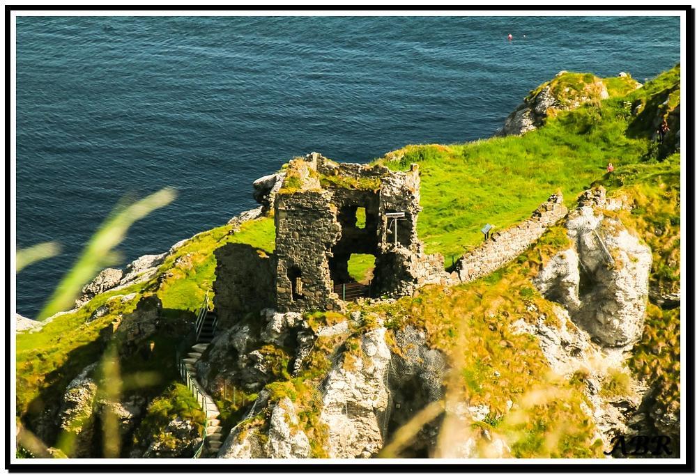 Photo in Landscape #castle #sea #rock #green #grass #steps