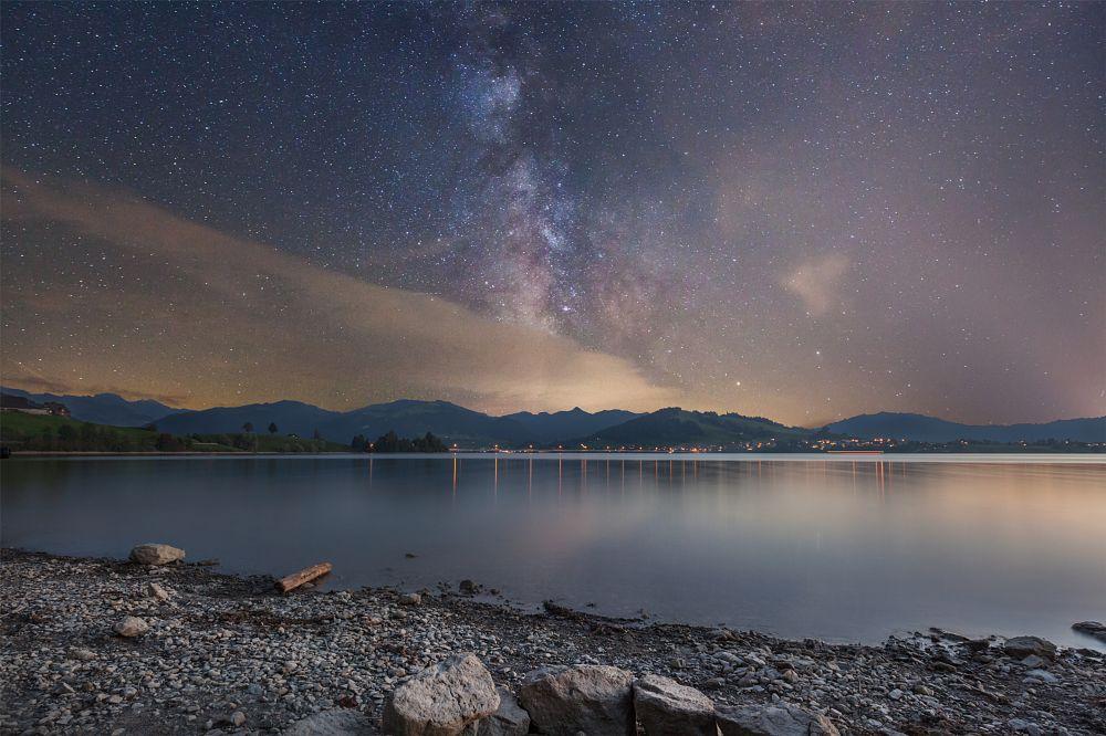 Photo in Landscape #sihlsee #willerzell #einsiedeln #schwyz #lake #water #reflection #see #wasser #spiegelung #long exposure #milchstrasse #milky way #night shot #stars #stones #ufer