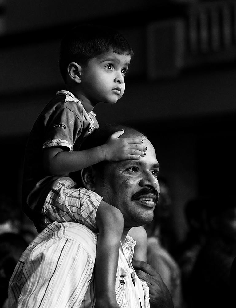 Photo in People #father #son #curious #black and white