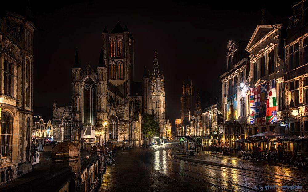 Photo in Cityscape #night #gent #belgium #beautiful #light #lowlight #nightview #lights #dark #long exposure