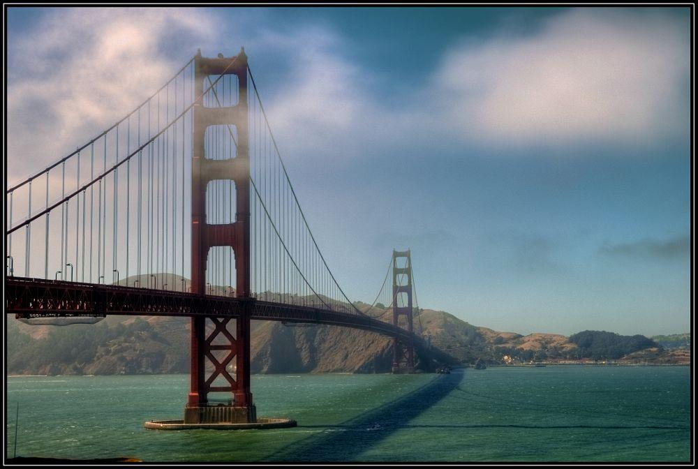 Photo in Architecture #bridge #bay bridge #fog