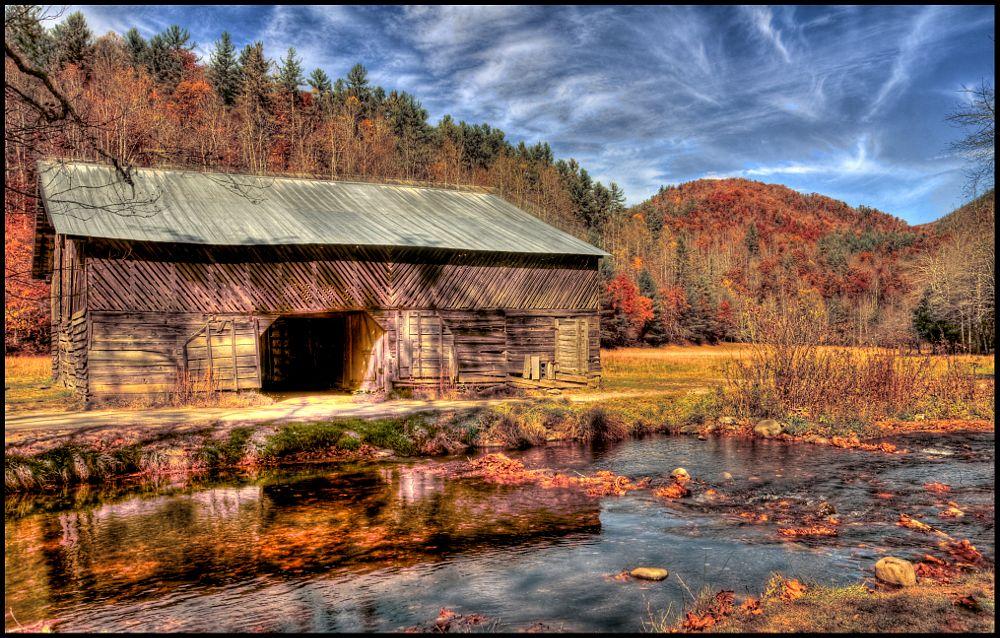 Photo in Landscape #old barn #fall color #stream