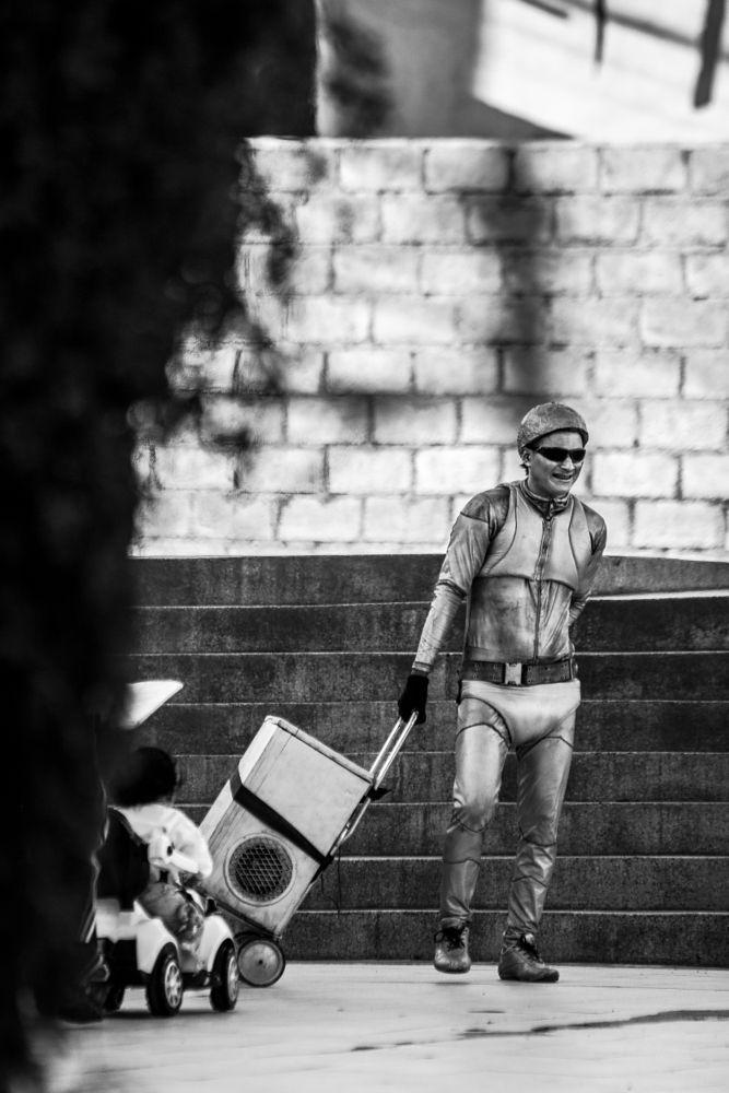 Photo in Street Photography #clown #people #street #blackandwhite #dance