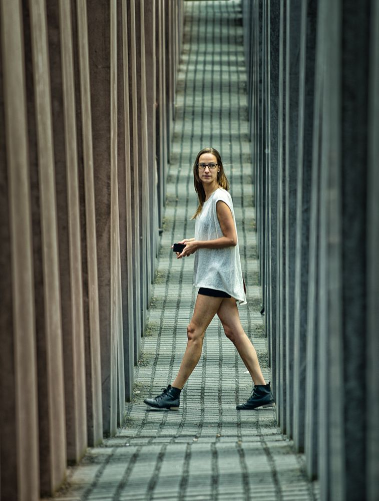 Photo in Street Photography #berlin #allemagne #mémorial de l'holocauste #girl #fille #street #rue