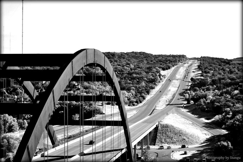 Photo in Black and White #austin #texas #road #bridge #360 bridge #pennybacker #country #black and white #street #cars #river #city #life #city life #country life #peaceful #timeless #love #sunny #summer
