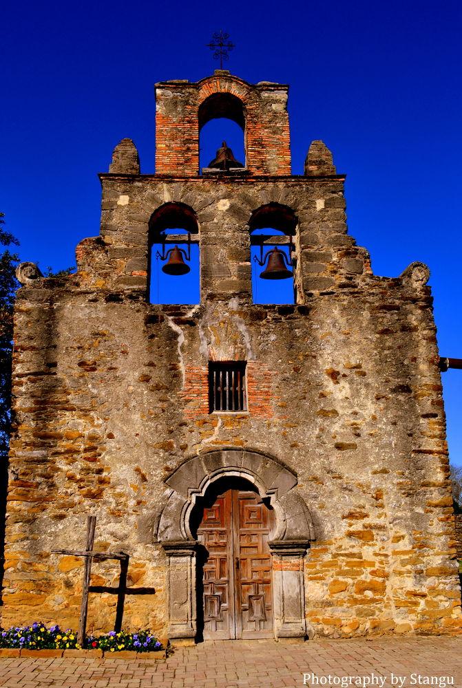 Photo in Architecture #chapel #ruins #san antonio #church #catholic #pray #building #texas #cross #jesus #priest #doors #old #sky #bell