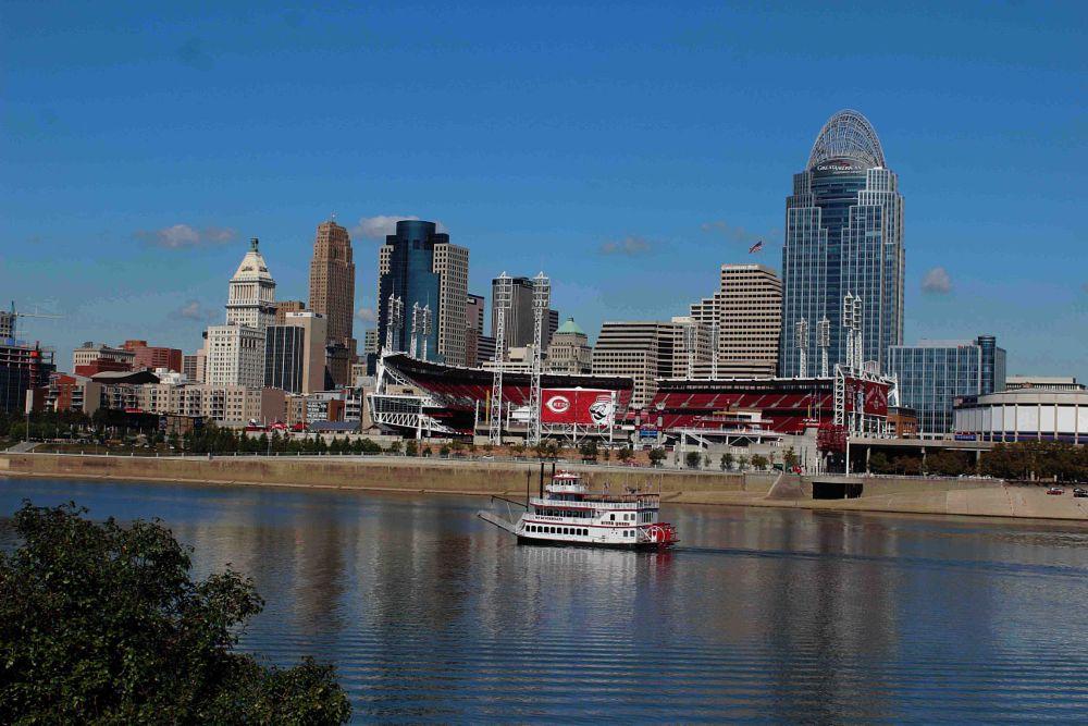 Photo in Cityscape #river #boat #water #ohio #riverboat #cincinnati reds #great american ball park #cityscape