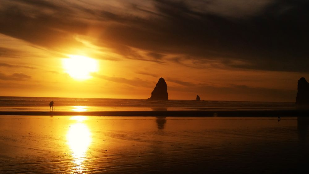 Photo in Sea and Sand #pacific ocean #haystack rock #water #sunset #oregon