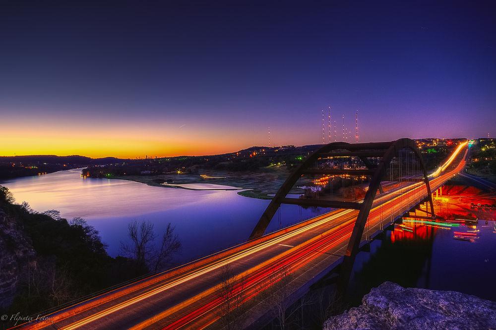 Photo in HDRI #flipintex fotos #hdr #blue hour #nikon d5000 #sigma 10-20 #austin texas #atx #light trails