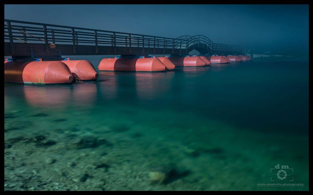 Photo in Landscape #pontoon #bridge #river #korana #karlovac #croatia #night #foggy #fog #cold #water