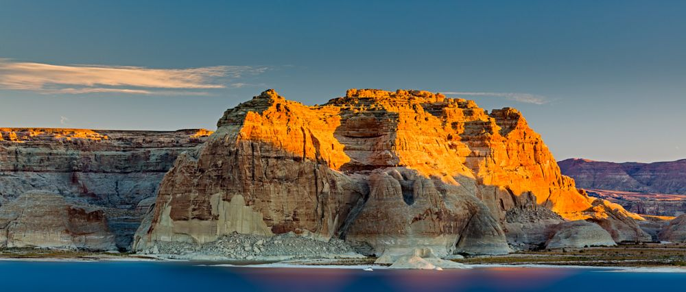 Photo in Landscape #lower lake powell #page #arizona #united states #lake #rock #mountain #sunrise #long exposure