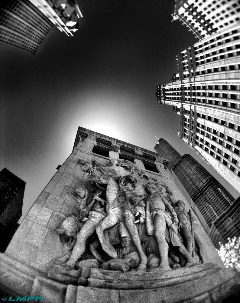 Photo in Street Photography #fisheye #sculpture #sky #building