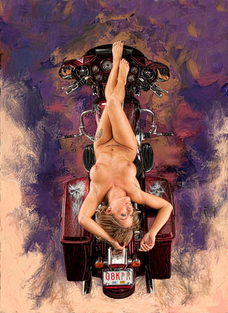 Photo in Nude #nude #nue #nu #naked #body #figure #legs #breasts #blonden #blonde #woman #girl #model #harley #bike #harley davidson #painted #portait #beauty #sexy #glamour #boudoir #erotic #laying #toptyt