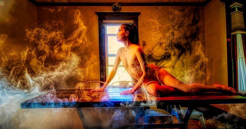Photo in Nude #nude #legs breasts #woman #portrait #female #model #girl #sexy #beauty #photo of day #smoke #legs #breasts
